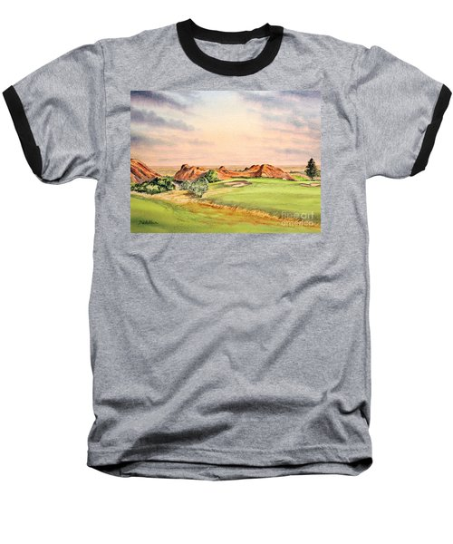 Baseball T-Shirt featuring the painting Arrowhead Golf Course Colorado Hole 3 by Bill Holkham