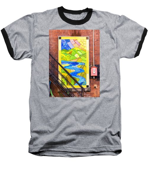 Art And The Fire Escape Baseball T-Shirt by Tom Singleton