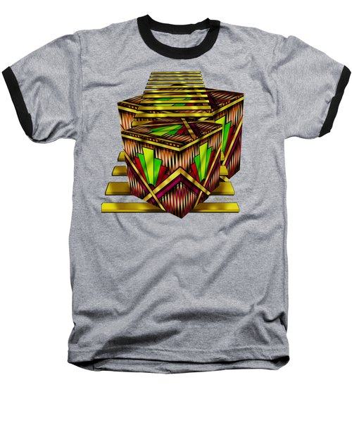 Art Deco Cubes 2 - Transparent Baseball T-Shirt by Chuck Staley