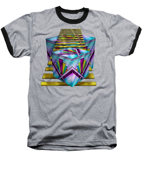 Art Deco Cubes 1 - Transparent Baseball T-Shirt