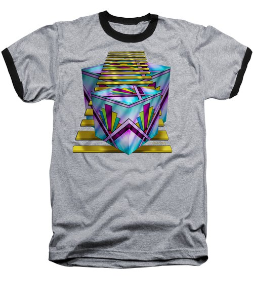Art Deco Cubes 1 - Transparent Baseball T-Shirt by Chuck Staley