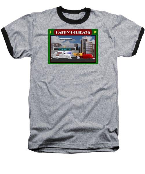 Art Deco Street Scene Christmas Card Baseball T-Shirt by Stuart Swartz