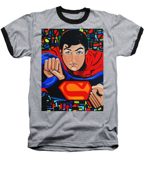 Art Deco  Superman Baseball T-Shirt