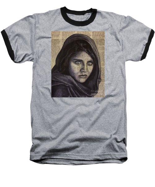 Art In The News 64-afghan Girl Baseball T-Shirt