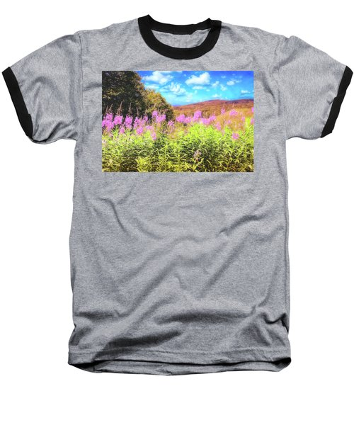 Art Photo Of Vermont Rolling Hills With Pink Flowers In The Foreground Baseball T-Shirt