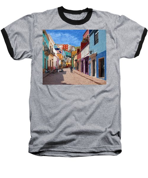 Baseball T-Shirt featuring the photograph Art Students Drawing A Street In Guanajuato by John Kolenberg