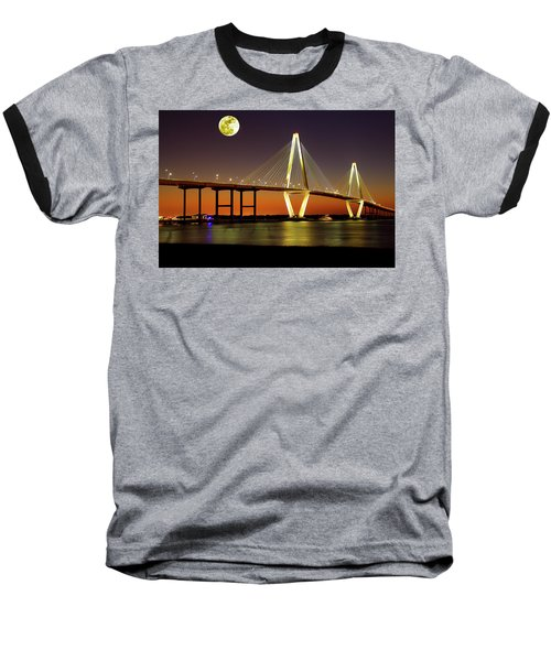 Arthur Ravenel Bridge At Night Baseball T-Shirt