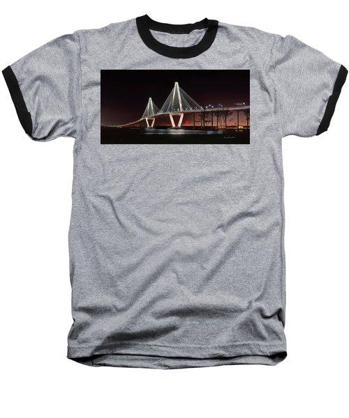Arthur Ravenel Jr. Bridge At Midnight Baseball T-Shirt by George Randy Bass