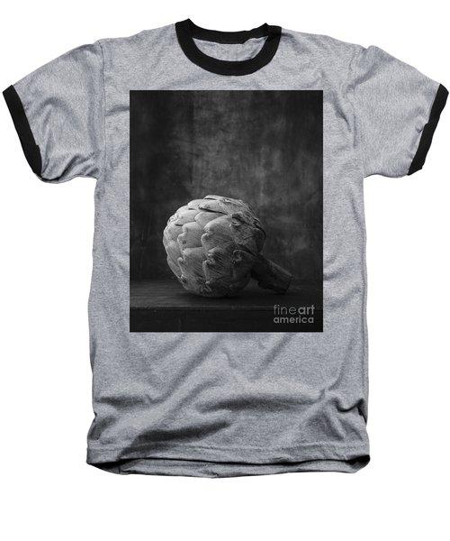 Artichoke Black And White Still Life Baseball T-Shirt by Edward Fielding
