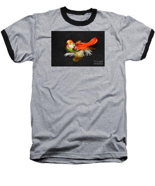 Artificial Orange Bird Baseball T-Shirt
