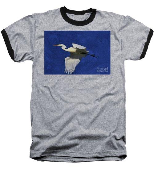 Baseball T-Shirt featuring the painting Artistic Egret by Deborah Benoit