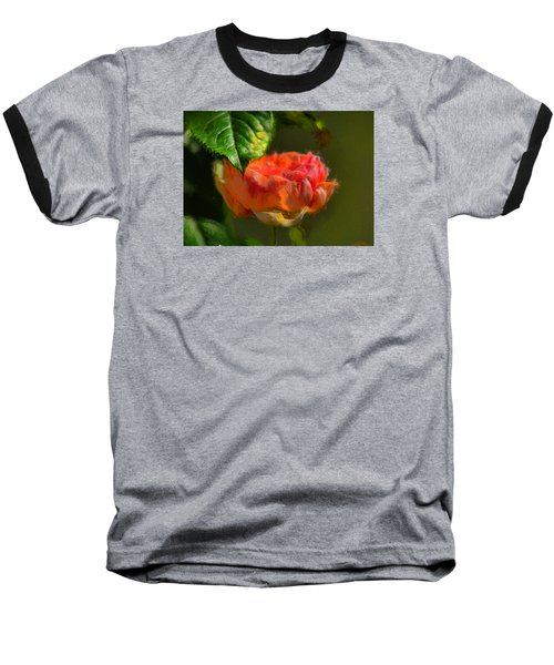 Artistic Rose And Leaf Baseball T-Shirt