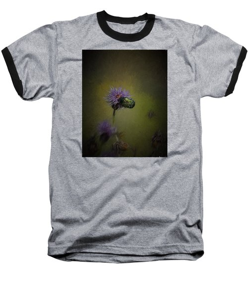 Baseball T-Shirt featuring the photograph Artistic Two Beetles On A Thistle Flower by Leif Sohlman