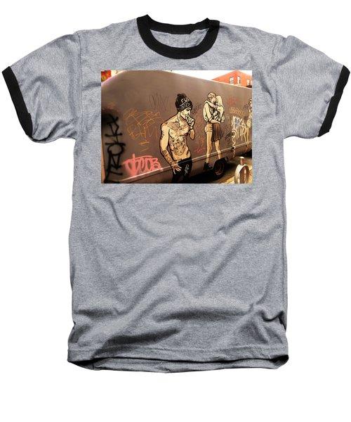 Artsy Love Scenes On New York Truck Baseball T-Shirt by Funkpix Photo Hunter