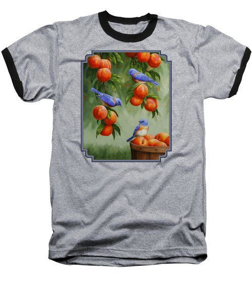 Bird Painting - Bluebirds And Peaches Baseball T-Shirt by Crista Forest