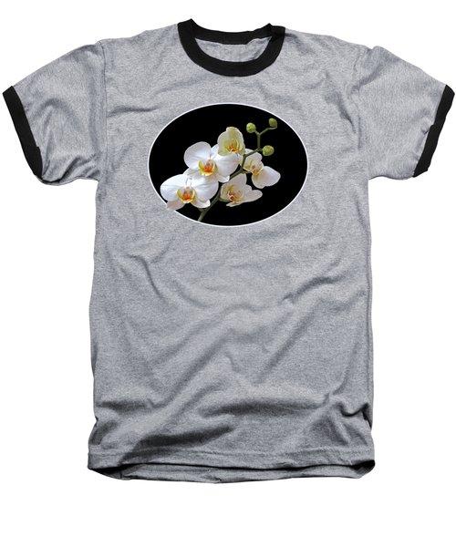 White Orchids On Black Baseball T-Shirt by Gill Billington