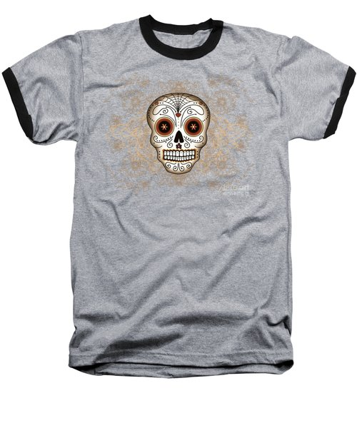 Baseball T-Shirt featuring the drawing Vintage Sugar Skull by Tammy Wetzel