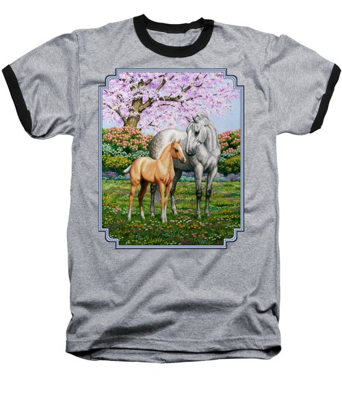 Spring's Gift - Mare And Foal Baseball T-Shirt by Crista Forest