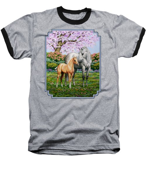 Spring's Gift - Mare And Foal Baseball T-Shirt