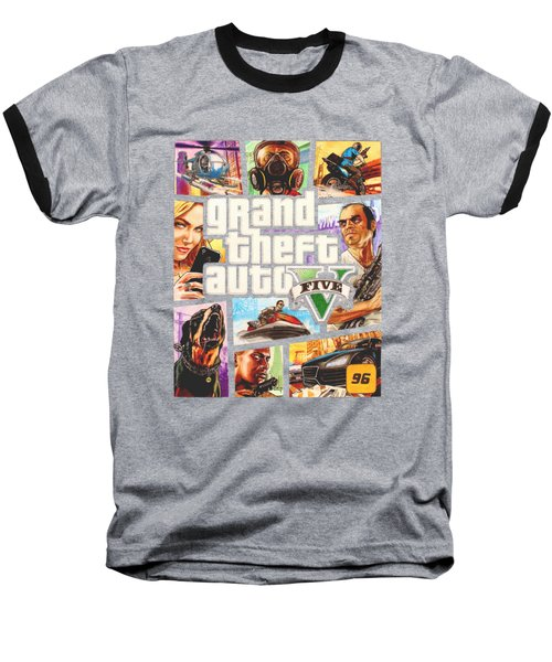 Gta V Box Art Cover Colored Drawing Baseball T-Shirt by Nikolai Jonasson