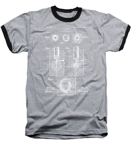 1902 Golf Ball Patent Artwork - Gray Baseball T-Shirt by Nikki Marie Smith