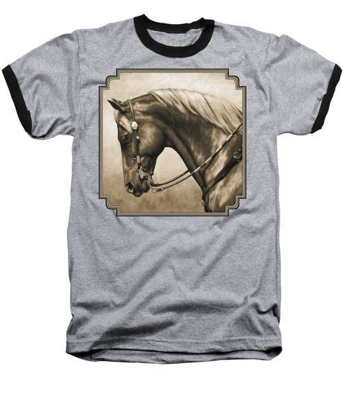 Western Horse Painting In Sepia Baseball T-Shirt by Crista Forest