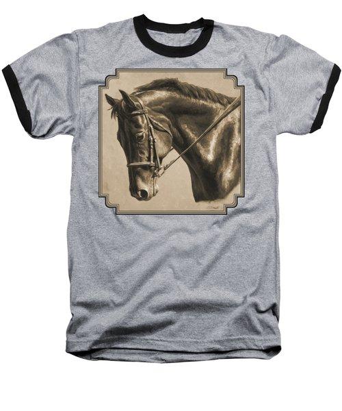 Horse Painting - Focus In Sepia Baseball T-Shirt