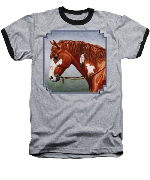 Native American War Horse Baseball T-Shirt by Crista Forest