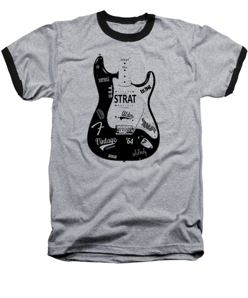 Fender Stratocaster 64 Baseball T-Shirt by Mark Rogan