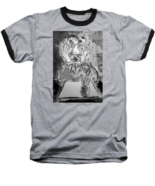 Baseball T-Shirt featuring the painting Old Geezer Grappling With A White Sheet Of Paper by Alfred Motzer