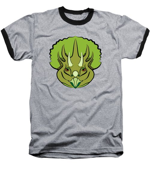 Triceratops Graphic Green Baseball T-Shirt