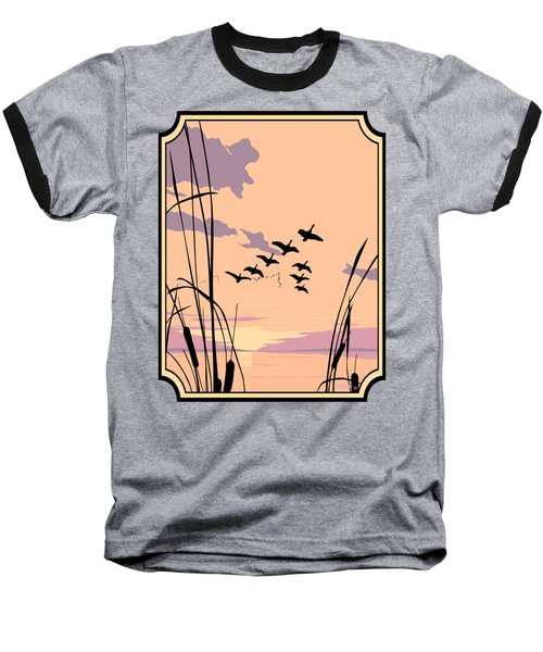 Abstract Ducks Sunset 1980s Acrylic Ducks Sunset Large 1980s Pop Art Nouveau Painting Retro      Baseball T-Shirt