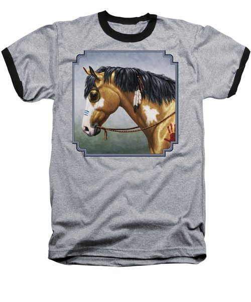 Buckskin Native American War Horse Baseball T-Shirt by Crista Forest