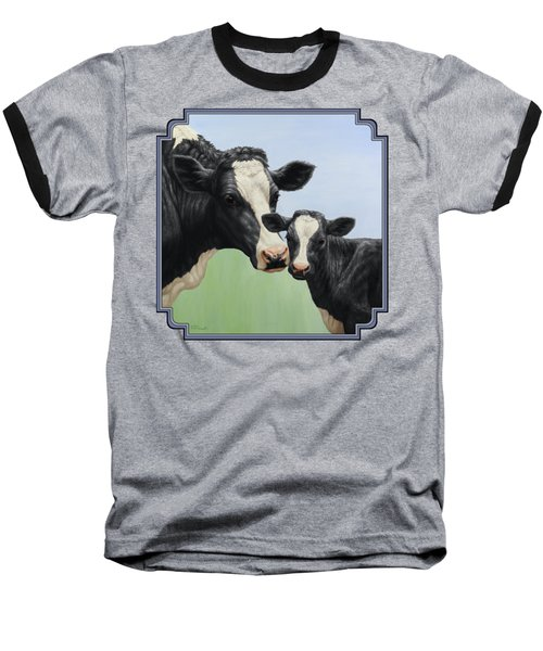 Holstein Cow And Calf Baseball T-Shirt by Crista Forest
