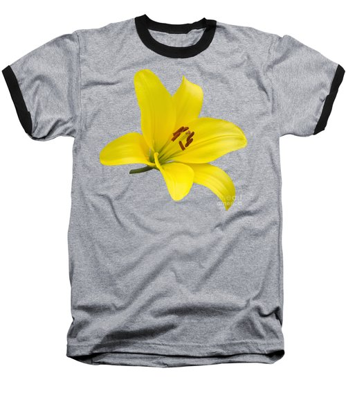 Baseball T-Shirt featuring the photograph Yellow Asiatic Lily On Blue by Jane McIlroy