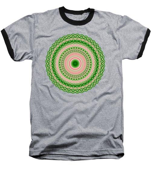 Pink And Green Mandala Fractal 002 Baseball T-Shirt
