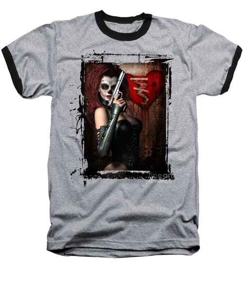 Baseball T-Shirt featuring the digital art Sugar Doll Long Night Of The Dead by Shanina Conway
