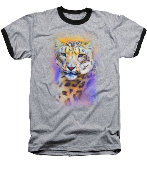 Colorful Expressions Snow Leopard Baseball T-Shirt by Jai Johnson