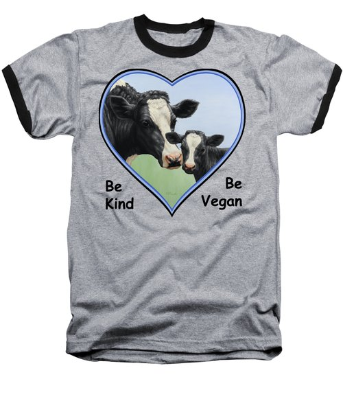 Holstein Cow And Calf Blue Heart Vegan Baseball T-Shirt by Crista Forest