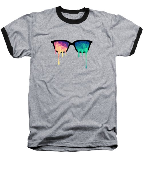 Psychedelic Nerd Glasses With Melting Lsd Trippy Color Triangles Baseball T-Shirt by Philipp Rietz