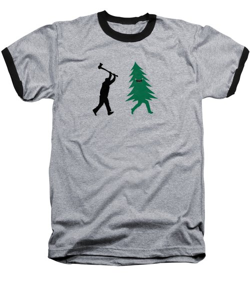 Funny Cartoon Christmas Tree Is Chased By Lumberjack Run Forrest Run Baseball T-Shirt