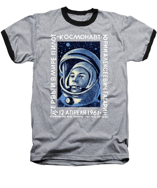 1961 First Man In Space, Yuri Gagarin Baseball T-Shirt