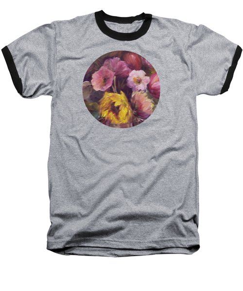 Abundance- Floral Painting Baseball T-Shirt by Mary Wolf