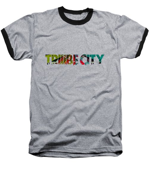 Baseball T-Shirt featuring the painting Tribe Lives by Chief Hachibi