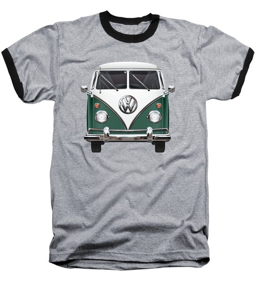 Volkswagen Type 2 - Green And White Volkswagen T 1 Samba Bus Over Red Canvas  Baseball T-Shirt by Serge Averbukh
