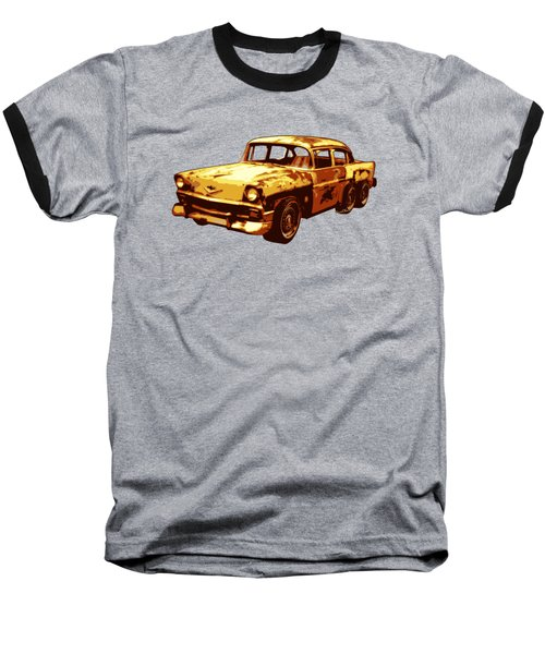 Roadrunner The Snake And The 56 Chevy Rat Rod Baseball T-Shirt by Chas Sinklier