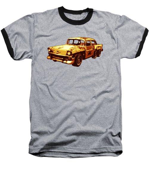 Roadrunner The Snake And The 56 Chevy Rat Rod Baseball T-Shirt