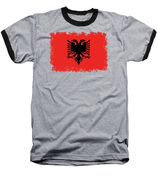 Flag Of Albania Authentic Version Baseball T-Shirt by Bruce Stanfield