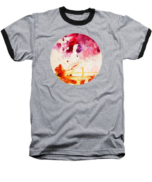 Fuchsia And Orange Color Splash Baseball T-Shirt