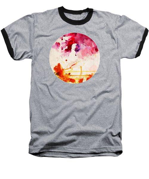 Fuchsia And Orange Color Splash Baseball T-Shirt
